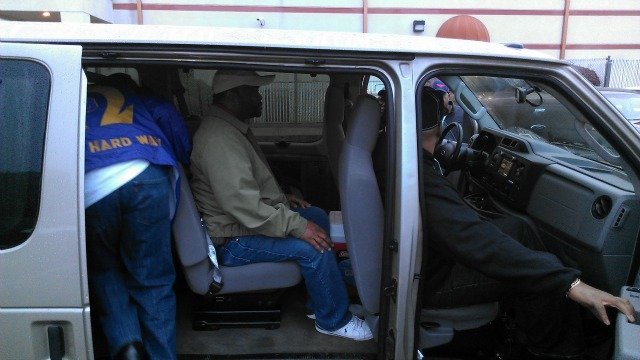 Fellow church members load up to caravan to Cochran, GA, to search for Jmaal Keyes