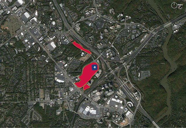 Map of new Braves stadium at I-75 and I-285.  Blue = new ballpark, red = mixed-use development and parking. (Source: Atlanta Braves)