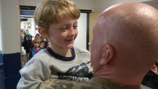 Seven year-old Preston Abrams with father, Capt. Robert Abrams