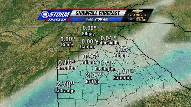 Potential Snow Totals Tuesday Night