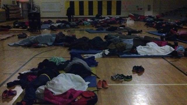 Children sleeping at E. Rivers Elementary