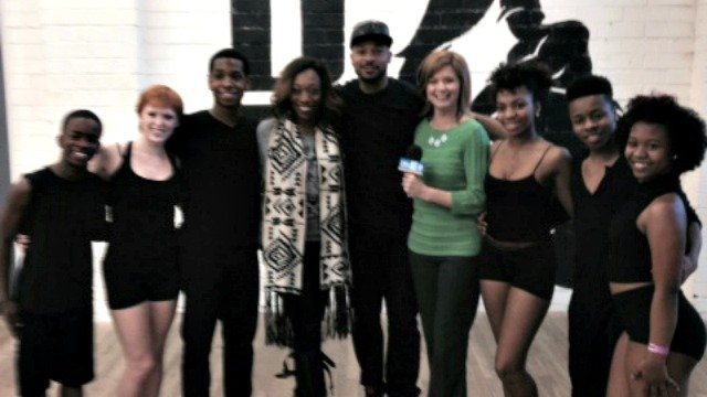 Anthony Burrell and students after appearing on Better Mornings Atlanta.