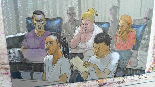 Court sketch of suspects