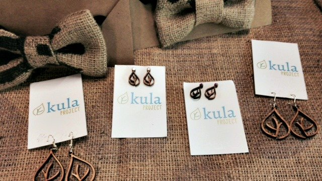 Kula coffee bag bow ties and earrings made from recycled wood