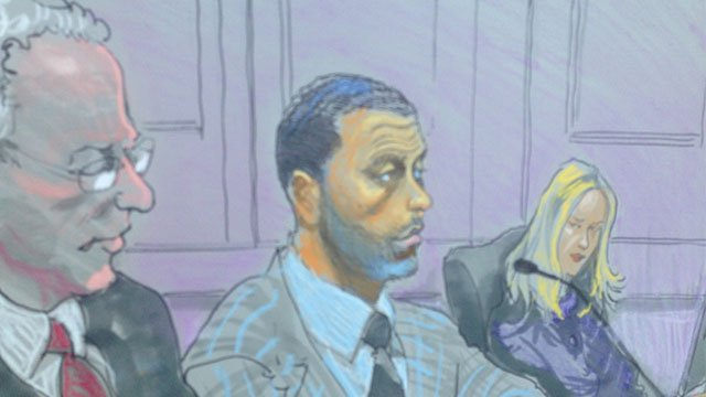 A courtroom sketch of 'Real Housewives of Atlanta' husband Apollo Nida as he pleads guilty.