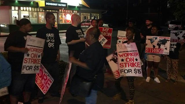 Workers strike at Krispy Kreme on Friday