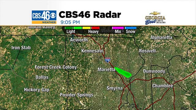 Green dot represents smoke from Marietta on radar