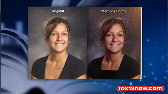 A yearbook photo was edited to show less skin and conceal a tattoo. | Source: KSTU-FOX 13
