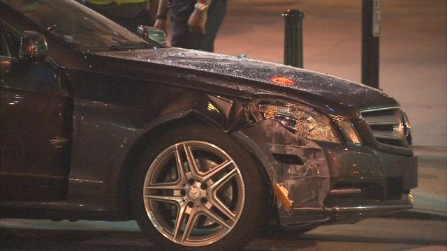 Damage to Mercedes that crashed into CNN center