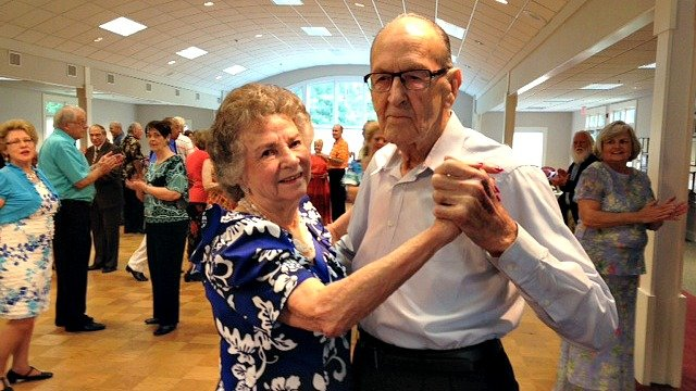 Bill Couch, 94 (pictured with his wife Joan) is the oldest member of the Foxtrotters Dance Club