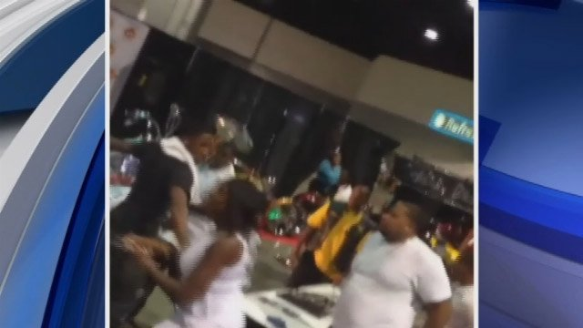 Photo from viewer video of a fight inside the building