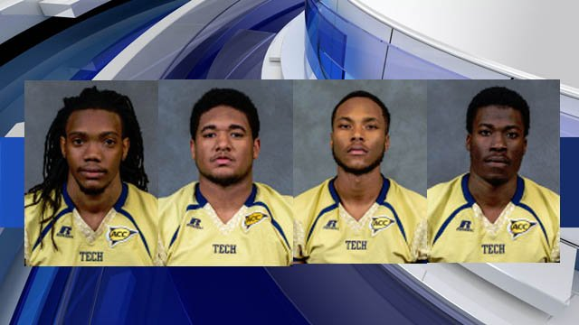 Anthony Autry, Darius Commissiong and Travin Henry (L to R) have all been dismissed by Ga. Tech football. Lynn Griffin (far right) has been suspended. (Courtesy: Georgia Tech)