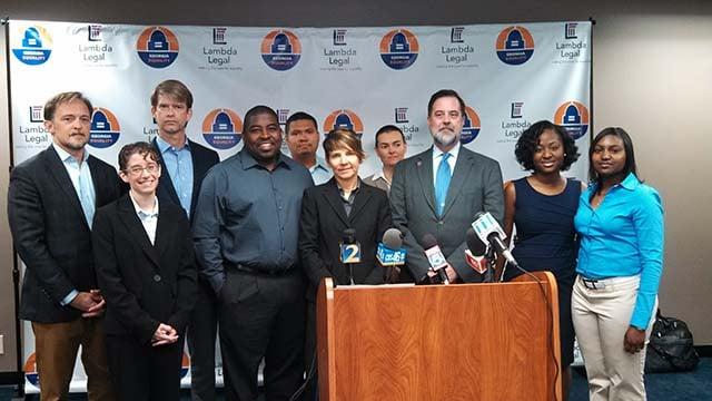 Same-sex marriage lawsuit plaintiffs and their attorneys, April 2014
