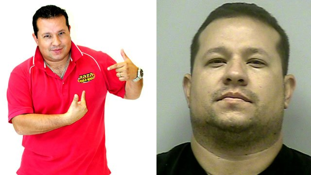 A publicity photo of Ulises Rayas for radio station La Raza (L) and Rayas' mugshot (R).