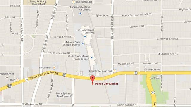 Google Map of Ponce City Market in Atlanta