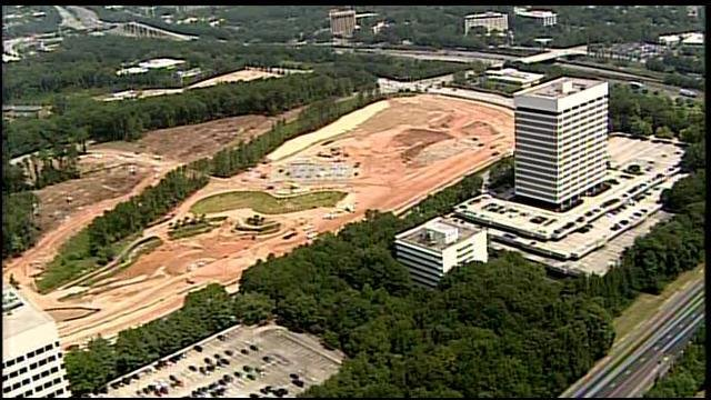 An aerial view of the site of the new Braves stadium in Cobb County.