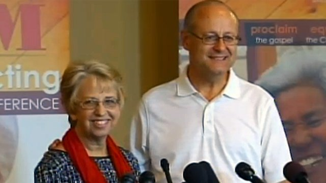 Nancy and David Writebol speak at a press conference.