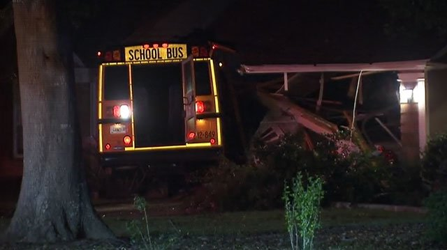 School Bus Hits Two Houses Causes Gas Leak In Clayton