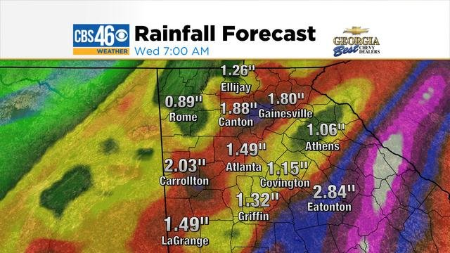 Forecast rain totals through 7am Wednesday