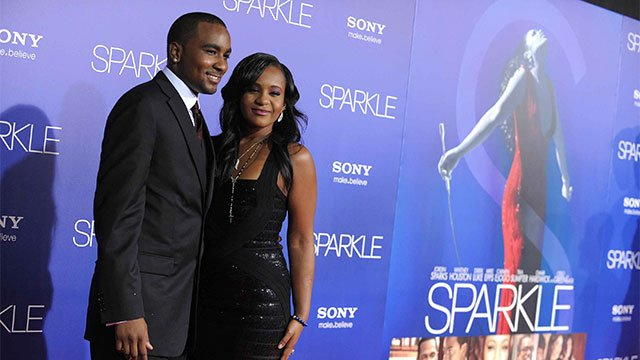 "Bobbi Kristina Brown and Nick Gordon attend the premiere of her mother Whitney Houston's movie ""Sparkle"" in 2012. Jordan Strauss/Invision/AP"
