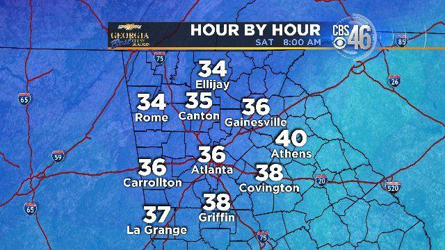 Saturday morning forecast temperatures