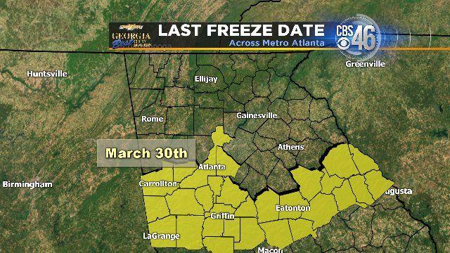Average last freeze for Atlanta