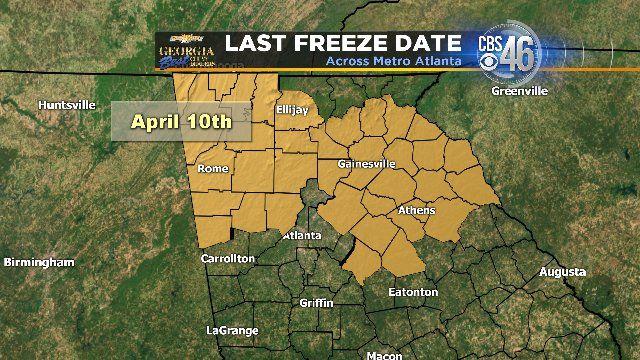 Average last freeze for north Georgia