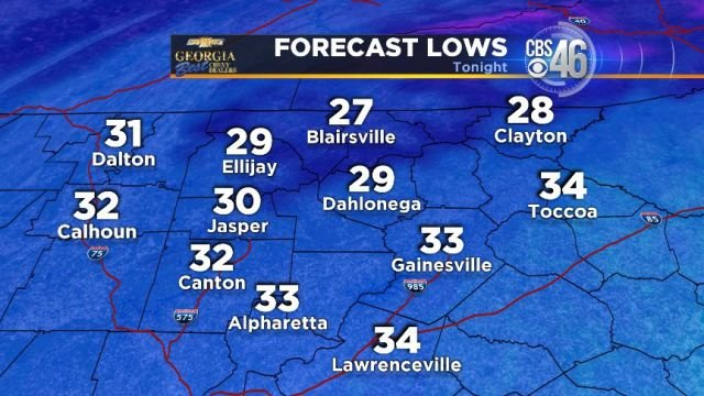 Forecast lows Saturday morning