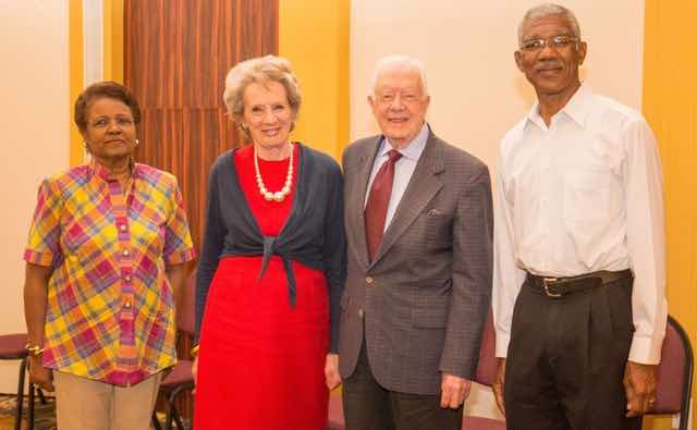 Dame Billie Miller of Barbados, Dame Audrey Glover of the United Kingdom, President Jimmy Carter, and Guyana presidential candidate David Granger