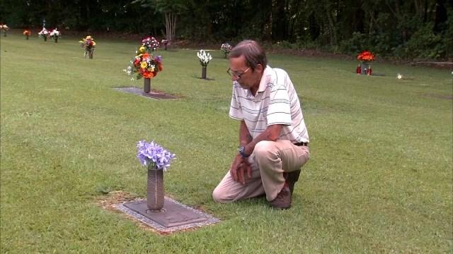 Joe Hamlin at his daughter's grave site