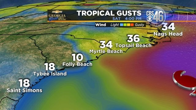 Potential coast wind gusts