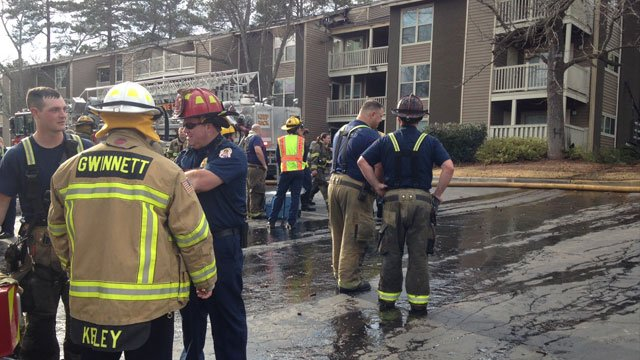 An apartment building erupted into flames at the Tuscana Apartments in Norcross (Source: WGCL-TV).