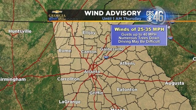 Wind advisory in effect